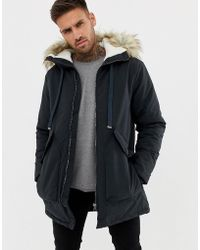 Pull&Bear Borg Lined Parka In Blue
