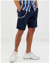 Bershka Slim Cargo Shorts - Blue