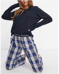 Tommy Hilfiger Organic Cotton Check Long Pyjama Set - Blue
