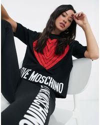 Love Moschino Черный Джемпер С Короткими Рукавами, Изображением Сердца И Логотипом