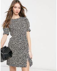 Warehouse Черное Платье С Цветочным Принтом И Разрезами -многоцветный - Черный