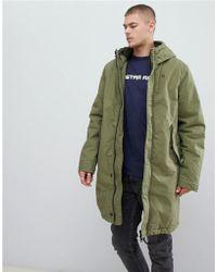 G-Star RAW Parka con capucha y borro de borreguito en verde