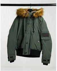 DIESEL Дутая Куртка Цвета Хаки Со Съемным Капюшоном И Искусственным Мехом W-jame-зеленый