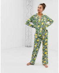 Chelsea Peers Lemon Print Revere Pyjama Set - Green