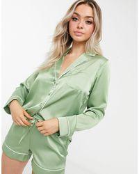 ASOS Шалфейно-зеленая Атласная Рубашка От Пижамы - Зеленый