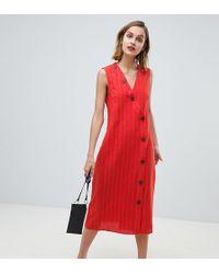 Mango Vestido midi de lino rojo con detalle de botones