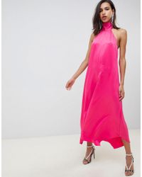 2237627654e ASOS - Satin Jumpsuit With Tie Neck And Asymmetric Hems - Lyst