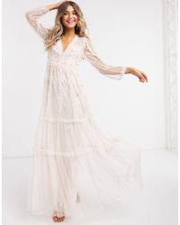 Needle & Thread Embellished Plunge Maxi Dress - Pink