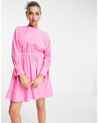 ALIGNE Organic Cotton Mini Dress With Open Tie Back And Sleeve Detal - Pink