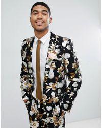 ASOS - Wedding Skinny Suit Jacket In Black Foil Floral Print - Lyst