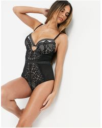 Figleaves Harper Fuller Bust Geometric Lace Plunge Bodysuit - Black