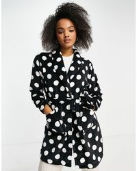 Brave Soul Dotty Fleece Dressing Gown - Black