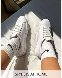 ASOS Wide Fit Day Time Chunky Flatform Lace Up Trainers - White