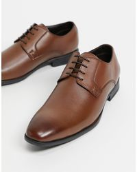 Moss Bros Moss London Faux Leather Derby Shoe - Brown