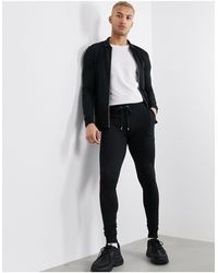 ASOS Muscle Tracksuit With Harrington Jacket - Black