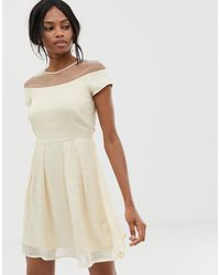 Little Mistress Bardot Midi Dress - Natural