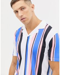 ASOS - Polo With Vertical Stripe And Revere Collar - Lyst