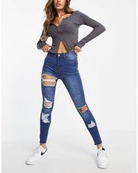 Naanaa Distressed Skinny Jeans - Blue