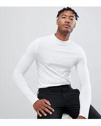 ASOS Tall - T-shirt moulant en jersey à manches longues avec col montant - Blanc