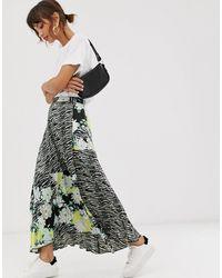 ASOS Satin Pleated Midi Skirt - Multicolour