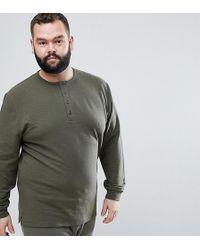 ASOS - Plus Sweatshirt With Button Neck In Khaki Nepp - Lyst