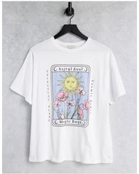 Pull&Bear Oversized T-shirt With Sun Graphics - White