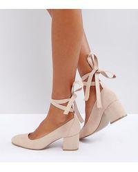 London Rebel Wide Fit Tie Ankle Kitten Heel Shoe - Natural