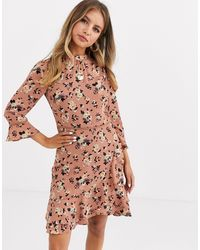 Oasis Skater Dress With High Neck - Brown