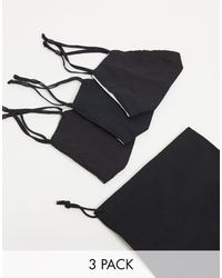 ASOS 3-pack Face Covering With Adjustable Straps Nose Clip And Bag - Black