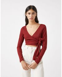 Pull&Bear Ballerina Wrap Top Co-ord - Red