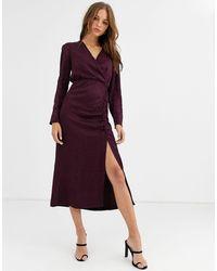 Warehouse Платье С Запахом Ягодного Цвета -красный - Пурпурный