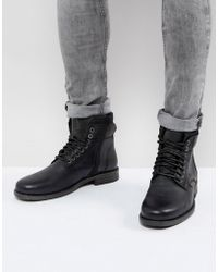 Levi's - Emmerson Leather Boots With Denim Detail In Black - Lyst