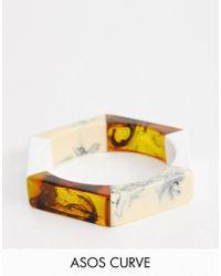 ASOS - Asos Design Curve Bangle Bracelet In Mixed Resin Hexagon Design - Lyst
