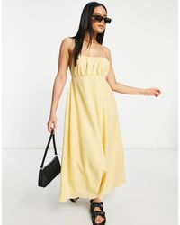 Missguided Strappy Midi Dress With Gathered Bust - Yellow