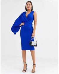 Lavish Alice One Shoulder Caped Midi Dress - Blue