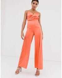 The Girlcode Satin Wrap Front Jumpsuit - Orange