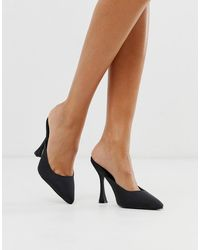 Truffle Collection Pointed Heeled Mules In Black