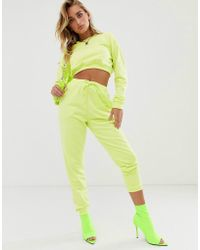 ASOS - Tracksuit Cropped Sweat / Slim jogger With Tie In Neon Yellow - Lyst