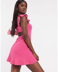 NA-KD Frill Strap Detail Mini Dress - Red