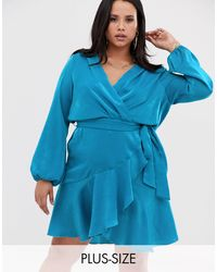 Flounce London Satin Mini Wrap Dress - Blue