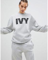 Ivy Park Sudadera gris con logo