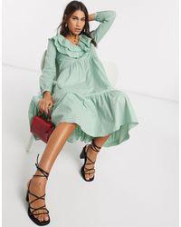 Warehouse Ruffle Front Tiered Midi Dress - Green