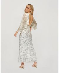 Miss Selfridge Золотистое Платье Макси С Пайетками И Открытой Спиной -белый
