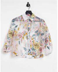 River Island Floral Organza Shirt - White