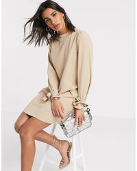 Vero Moda Shift Dress With Tie Sleeves - Natural