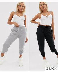 4a69ac28572d51 ASOS - Asos Design Petite 2 Pack Basic jogger With Tie Multipack Saving -  Lyst