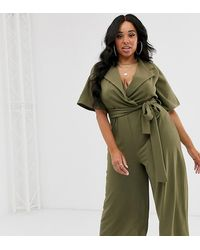Boohoo Culotte Jumpsuit With Belted Waist In Khaki - Green