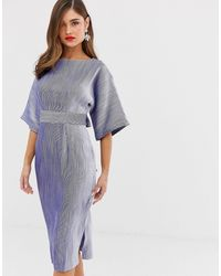 Closet Ribbed Pencil Dress With Tie Belt - Blue