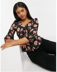 New Look Черная Блузка С Розовым Цветочным Принтом -черный