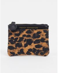 French Connection Faux Leather And Leopard Small Coin Purse - Multicolor